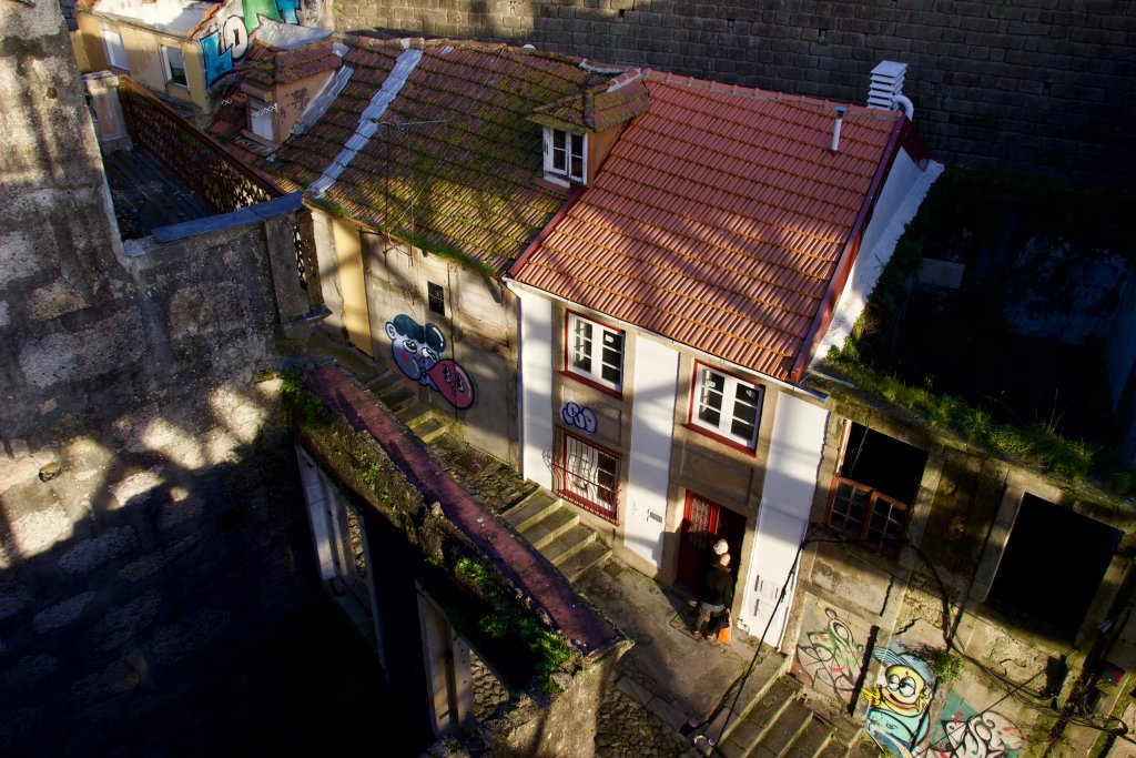 A mix of abandoned homes and those freshly renovated, next to Porto's Dom Luis I Bridge. ©KettiWilhelm2020